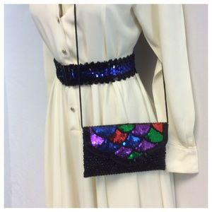 La Regale Handbags - LA REGALE LTD SEQUIN PURSE AND BELT