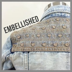ZARA • embellished & distressed crop denim jacket