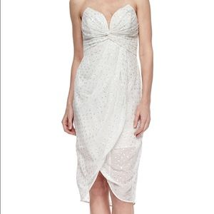 Zimmermann white silver polka dot strapless dress
