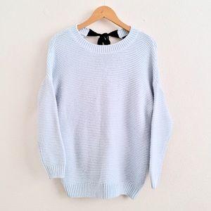 Pale Blue Knit PullOver w/ Tie Back Details