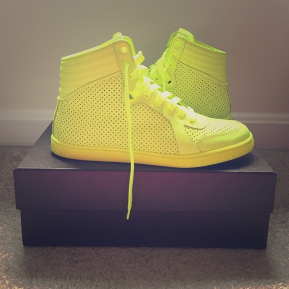 Gucci High Top Sneakers Neon Yellow