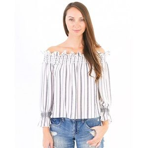 Tops - [Boutique]stripes + ruffles off the shoulder top