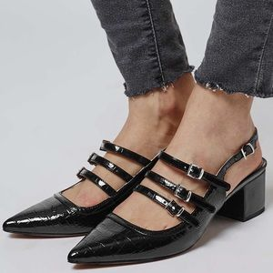 Topshop Shoes - [Topshop]JAVA croc sling-back shoes