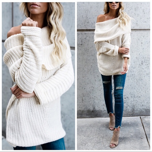 Couture Gypsy Sweaters Clearanceoversized Off Shoulder Sweater