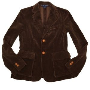 RALPH LAUREN blue label leather button corduroy