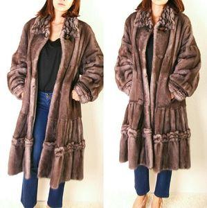 Mink fur long coat. American legend blue iris mink