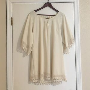 Cream lace detailed peasant dress/tunic