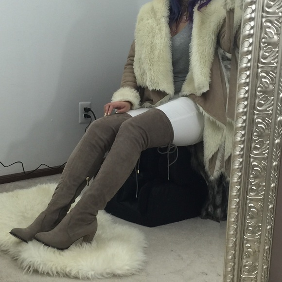 34 asos shoes new taupe tight the knee suede