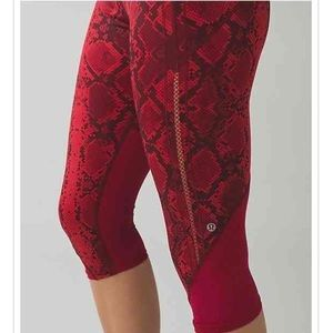 Lululemon Athletica Pants Jumpsuits Lululemon Rare Red Python Snakeskin Leggings Sale Poshmark