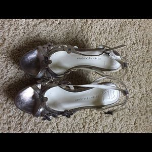 Etienne Aigner Shoes - Cute pewter silver wedge sandals size 7/7.5