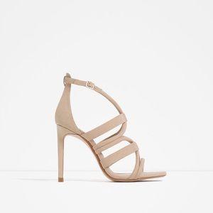 Zara Wraparound High Heel Sandals. Size 8.