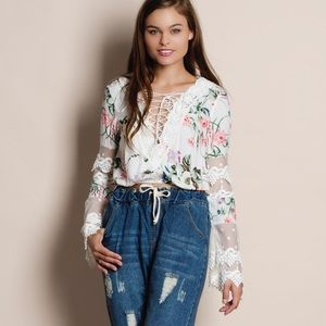Bare Anthology Tops - Lace Up Floral Crop Top