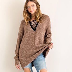 NBF ❤️ Lace Up Cozy Knit Sweater