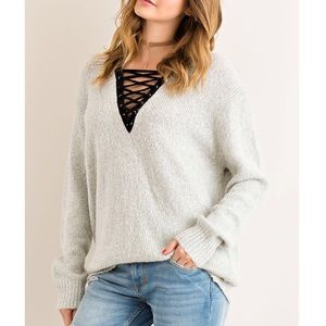 Bare Anthology Sweaters - Lace Up Cozy Knit Sweater
