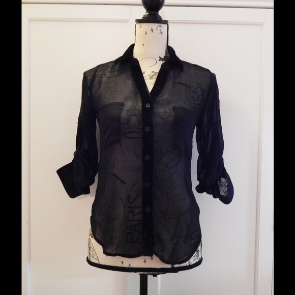 Wet Seal Tops - Sheer Black High Low Blouse Sz XS