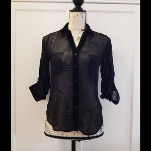 Sheer Black High Low Blouse Sz XS