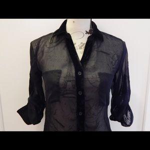 Wet Seal Tops - Sheer Black High Low Blouse Sz XS