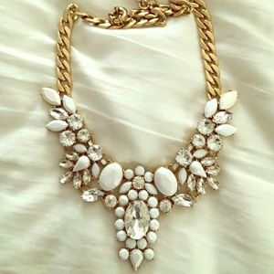 J Crew White Statement Necklace with Crystals