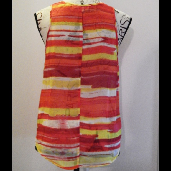 Forever 21 Tops - Forever 21 Red and Yellow Striped Sheer Tank Sz S