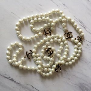 Chanel Long pearl black designer logo necklace