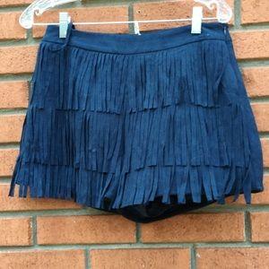 Blu pepper fringe skirt
