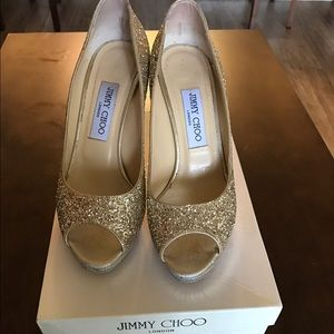 Jimmy Choo Shoes - Size 38 Gold sparkle Jimmy Choos