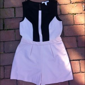 Lace mesh panel romper black pink tan cute dressy