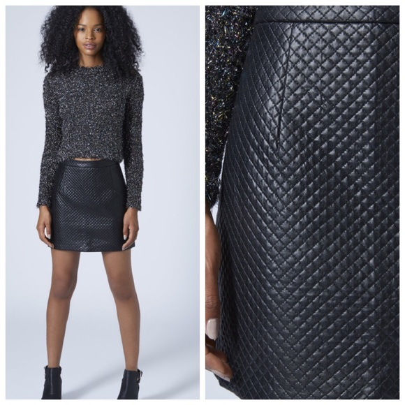 74% off Topshop Dresses & Skirts - TopShop Black Quilted Stitch ... : quilted leather skirt - Adamdwight.com