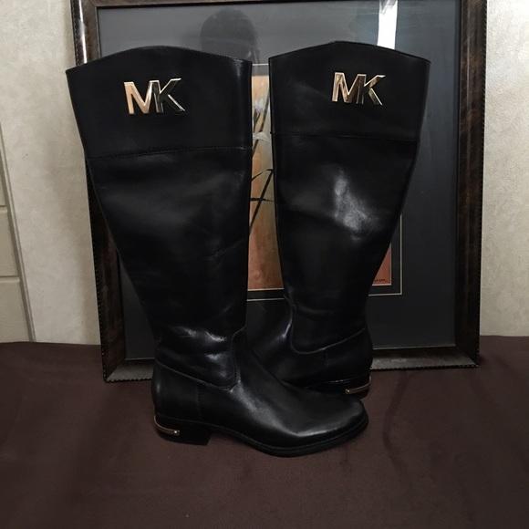 ca68180dc274 KORS Michael Kors Shoes | Hayley Black Leather Riding Boots Mk Logo ...