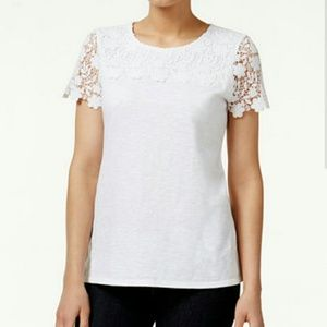 Charter Club Tops - PRICE LOWERED! Crisp White Top with Gorgeous Lace