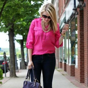 DNA Couture Tops - DNA Couture portofino style hot pink blouse S