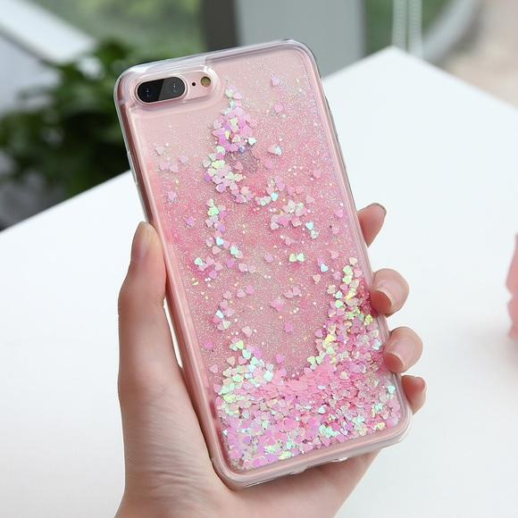 super popular 3b4d0 17751 iPhone 7 Plus/8 Plus Case Waterfall Glitter Hearts