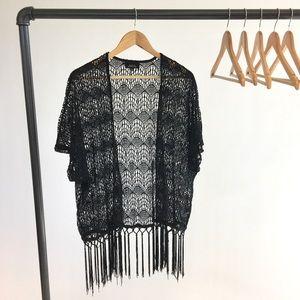 Sweaters - Black Fringe Boho Kimono Cardigan