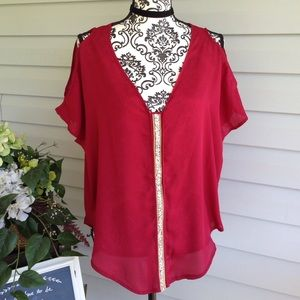Tops - NWT Sheer Blouse W/Chain & Rhinestone Accents