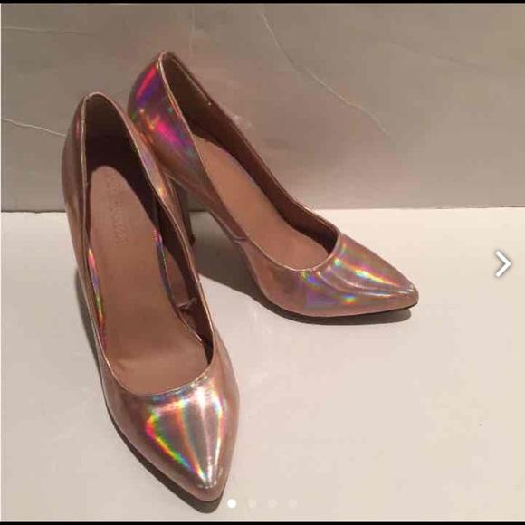 91a104777da Forever 21 Shoes - Rose Gold Hologram Heels