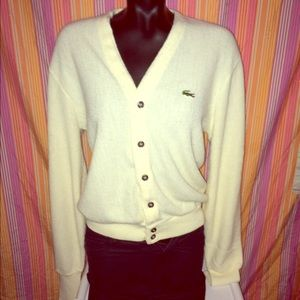 VTG LACOSTE ®100% WOOL CARDIGAN BOHO ON-TREND HIP
