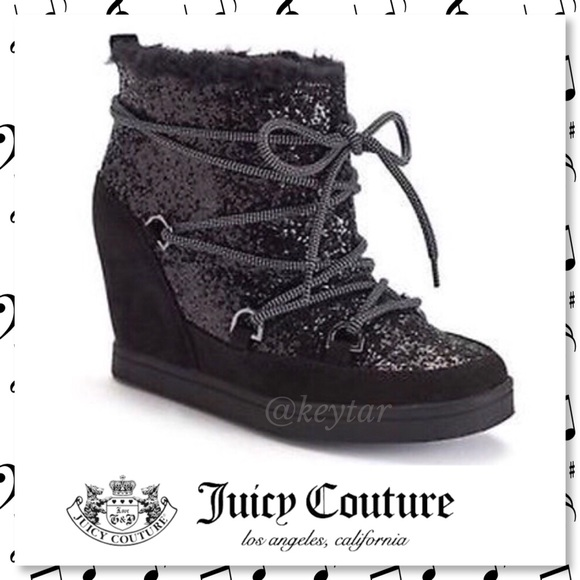56f5f62b624 NIB Juicy Couture Mareen Black Sparkle Wedge Boots
