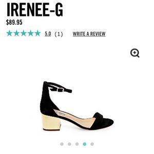 Steve Madden Irenee G Black Suede Gold Heel Size 6