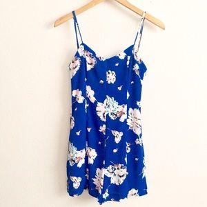 Royal Blue Floral Romper w/ Low V Back