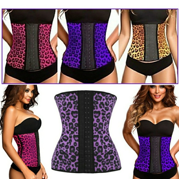 3f1533ad6c Animal print 9 steel boned latex waist trainer