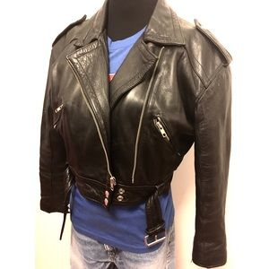 Vintage 80's Black Leather Motorcycle Jacket