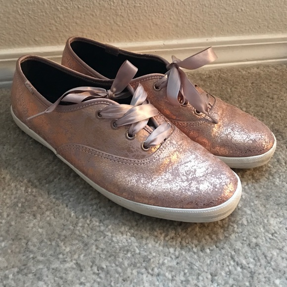 ad0ffe7dccc6a Keds Shoes - Keds Champion Sneakers - Rose Gold Leather - 7.5