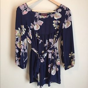 Anthropologie Navy Floral Blouse