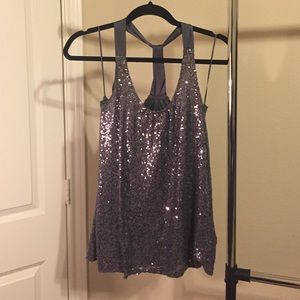 Express size small Gray sequin top. No tags