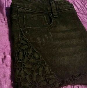 Pants - Black Jean Shorts, Flower Detail