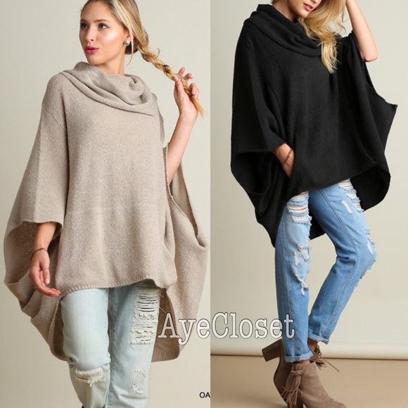 Boutique - Poncho style sweater cardigan cowl neck sold from ...
