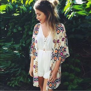 White w/ Neon Tribal Print Open Front Cardigan Lrg