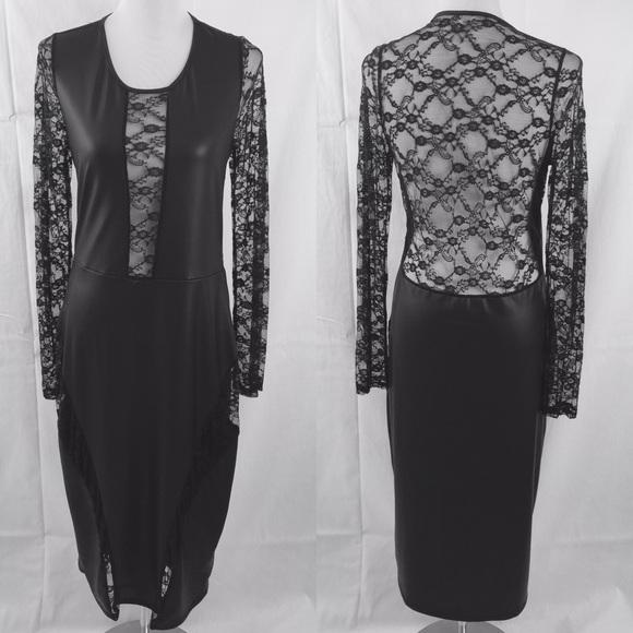 Boutique Dresses Black Faux Leather Wet Look Dress Plus Size