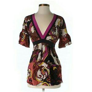 Hype Tops - 100% Silk Boho Floral Kimono Top