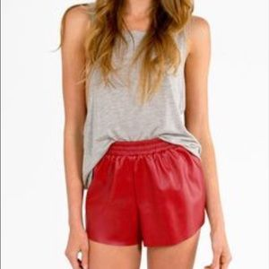 Red Faux Leather Shorts❣